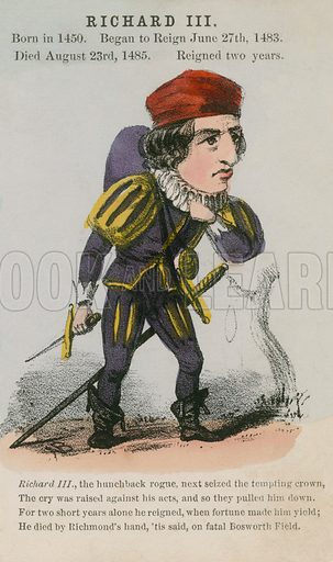 King Richard III. Illustration for Alfred Crowquill's Comic History of the Kings and Queens of England (Read & Co, c 1860).