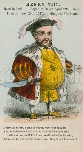 King Henry VIII.  Illustration for Alfred Crowquill's Comic History of the Kings and Queens of England (Read & Co, c 1860).