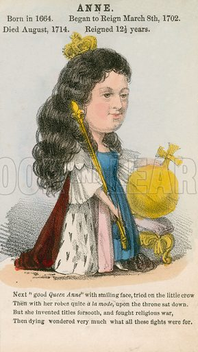 Queen Anne. Illustration for Alfred Crowquill's Comic History of the Kings and Queens of England (Read & Co, c 1860).