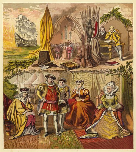 Sovereigns of the Line of Tudor; King Henry VII, King Henry VIII, King Edward VI, Queen Mary, Queen Elizabeth I. Illustration for Warne's Picture Puzzle Toy Book on Our Kings and Queens (c 1880). Note. Cut-outs stuck onto picture.