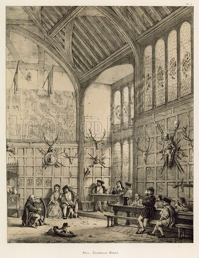 """Hall, Ockwells, Berks. Illustration for The Mansions of England in the Olden Time by Joseph Nash, """"carefully reduced and executed in lithography"""" by Samuel Stanesby (Henry Sotheran, 1869–72)."""