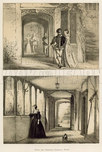 """Porch and Corridor, Ockwells, Berks. Illustration for The Mansions of England in the Olden Time by Joseph Nash, """"carefully reduced and executed in lithography"""" by Samuel Stanesby (Henry Sotheran, 1869–72)."""