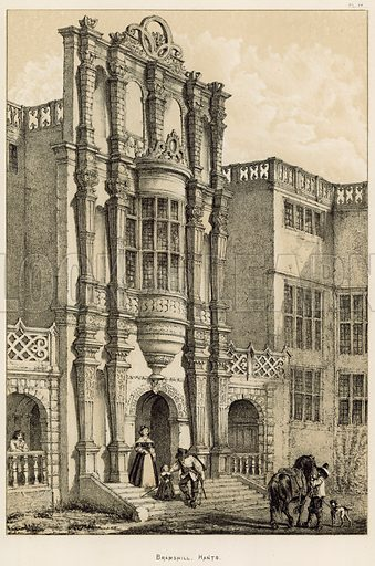 """Bramshill, Hants. Illustration for The Mansions of England in the Olden Time by Joseph Nash, """"carefully reduced and executed in lithography"""" by Samuel Stanesby (Henry Sotheran, 1869–72)."""