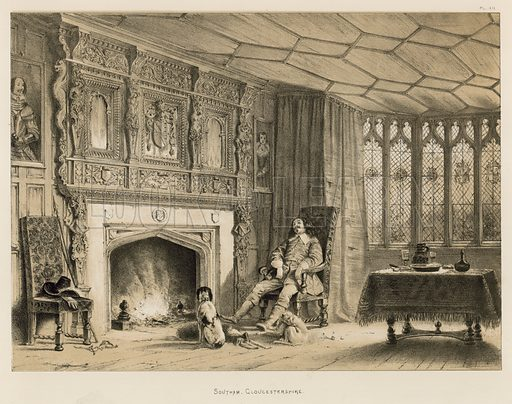 """Southam, Gloucestershire. Illustration for The Mansions of England in the Olden Time by Joseph Nash, """"carefully reduced and executed in lithography"""" by Samuel Stanesby (Henry Sotheran, 1869–72)."""