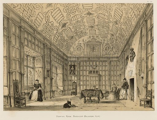 """Drawing Room, Boughton-Malherbe, Kent. Illustration for The Mansions of England in the Olden Time by Joseph Nash, """"carefully reduced and executed in lithography"""" by Samuel Stanesby (Henry Sotheran, 1869–72)."""