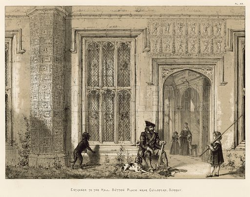 "Entrance to the Hall, Sutton Place, near Guildford, Surrey. Illustration for The Mansions of England in the Olden Time by Joseph Nash, ""carefully reduced and executed in lithography"" by Samuel Stanesby (Henry Sotheran, 1869–72)."