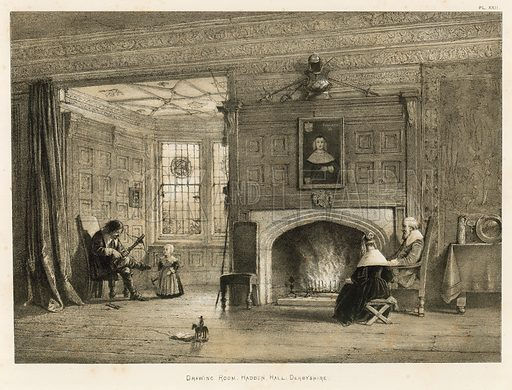 """Drawing Room, Haddon Hall, Derbyshire. Illustration for The Mansions of England in the Olden Time by Joseph Nash, """"carefully reduced and executed in lithography"""" by Samuel Stanesby (Henry Sotheran, 1869–72)."""