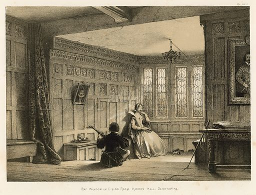 "Bay Window in Dining Room, Haddon Hall, Derbyshire. Illustration for The Mansions of England in the Olden Time by Joseph Nash, ""carefully reduced and executed in lithography"" by Samuel Stanesby (Henry Sotheran, 1869–72)."