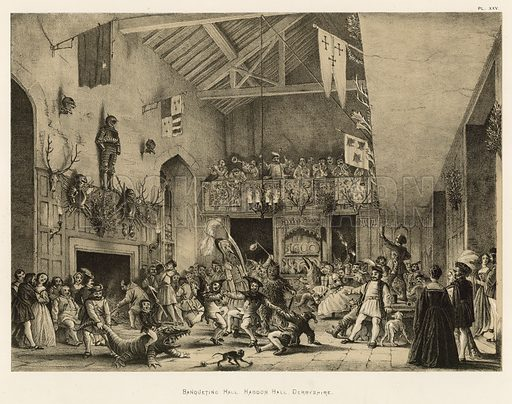 """Banqueting Hall, Haddon Hall, Derbyshire. Illustration for The Mansions of England in the Olden Time by Joseph Nash, """"carefully reduced and executed in lithography"""" by Samuel Stanesby (Henry Sotheran, 1869–72)."""