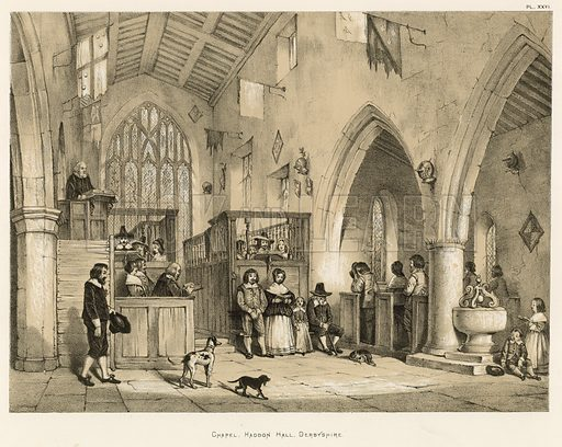 """Chapel, Haddon Hall, Derbyshire. Illustration for The Mansions of England in the Olden Time by Joseph Nash, """"carefully reduced and executed in lithography"""" by Samuel Stanesby (Henry Sotheran, 1869–72)."""