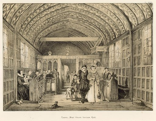 """Chapel, Moat House, Ightham, Kent. Illustration for The Mansions of England in the Olden Time by Joseph Nash, """"carefully reduced and executed in lithography"""" by Samuel Stanesby (Henry Sotheran, 1869–72)."""