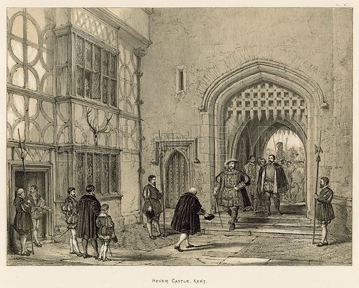 """Hever Castle, Kent. Illustration for The Mansions of England in the Olden Time by Joseph Nash, """"carefully reduced and executed in lithography"""" by Samuel Stanesby (Henry Sotheran, 1869–72)."""