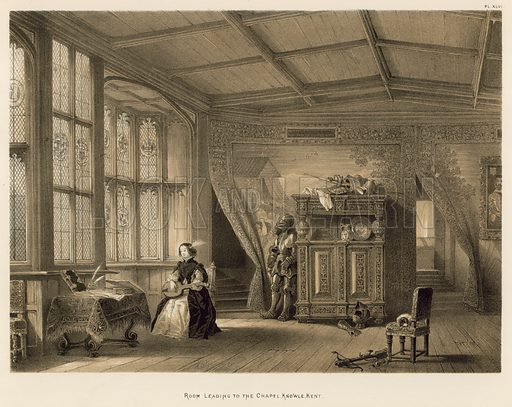 "Room Leading to the Chapel, Knowle, Kent. Illustration for The Mansions of England in the Olden Time by Joseph Nash, ""carefully reduced and executed in lithography"" by Samuel Stanesby (Henry Sotheran, 1869–72)."