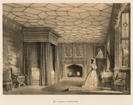 """Bed Chamber, Knowle, Kent. Illustration for The Mansions of England in the Olden Time by Joseph Nash, """"carefully reduced and executed in lithography"""" by Samuel Stanesby (Henry Sotheran, 1869–72)."""
