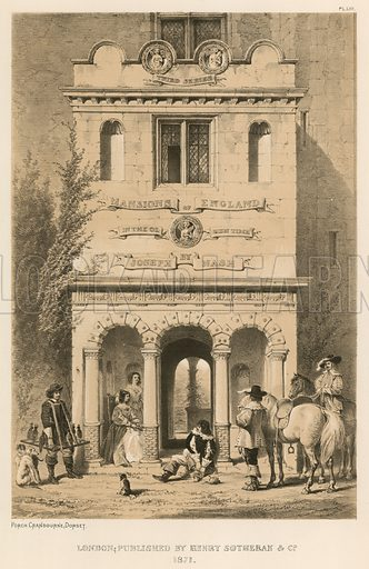"""Porch, Cranbourne, Dorset. Illustration for The Mansions of England in the Olden Time by Joseph Nash, """"carefully reduced and executed in lithography"""" by Samuel Stanesby (Henry Sotheran, 1869–72)."""