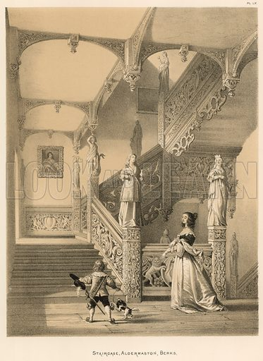 """Staircase, Aldermaston, Berks. Illustration for The Mansions of England in the Olden Time by Joseph Nash, """"carefully reduced and executed in lithography"""" by Samuel Stanesby (Henry Sotheran, 1869–72)."""