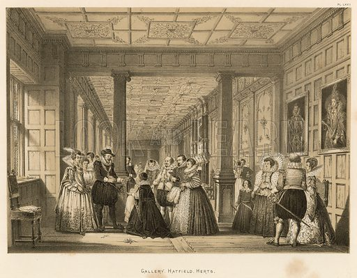 """Gallery, Hatfield, Herts. Illustration for The Mansions of England in the Olden Time by Joseph Nash, """"carefully reduced and executed in lithography"""" by Samuel Stanesby (Henry Sotheran, 1869–72)."""