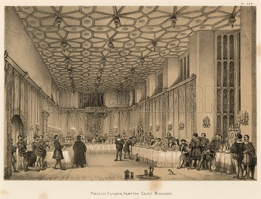 """Presence Chamber, Hampton Court, Middlesex. Illustration for The Mansions of England in the Olden Time by Joseph Nash, """"carefully reduced and executed in lithography"""" by Samuel Stanesby (Henry Sotheran, 1869–72)."""