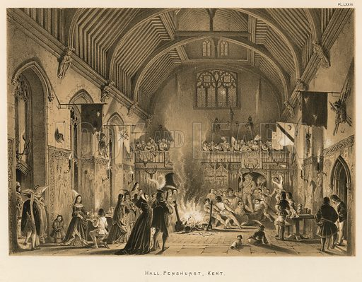 """Hall, Penshurst, Kent. Illustration for The Mansions of England in the Olden Time by Joseph Nash, """"carefully reduced and executed in lithography"""" by Samuel Stanesby (Henry Sotheran, 1869–72)."""