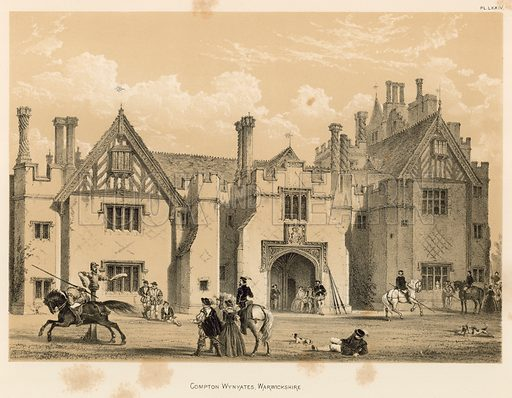 """Compton Wynyates, Warwickshire. Illustration for The Mansions of England in the Olden Time by Joseph Nash, """"carefully reduced and executed in lithography"""" by Samuel Stanesby (Henry Sotheran, 1869–72)."""