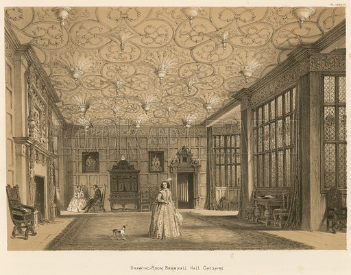 """Drawing-Room, Bramhall Hall, Cheshire. Illustration for The Mansions of England in the Olden Time by Joseph Nash, """"carefully reduced and executed in lithography"""" by Samuel Stanesby (Henry Sotheran, 1869–72)."""