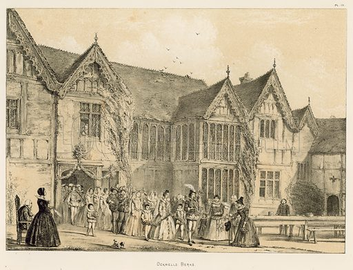 "Ockwells, Berks. Illustration for The Mansions of England in the Olden Time by Joseph Nash, ""carefully reduced and executed in lithography"" by Samuel Stanesby (Henry Sotheran, 1869–72)."
