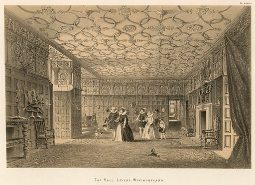 "The Hall, Levens, Westmoreland. Illustration for The Mansions of England in the Olden Time by Joseph Nash, ""carefully reduced and executed in lithography"" by Samuel Stanesby (Henry Sotheran, 1869–72)."
