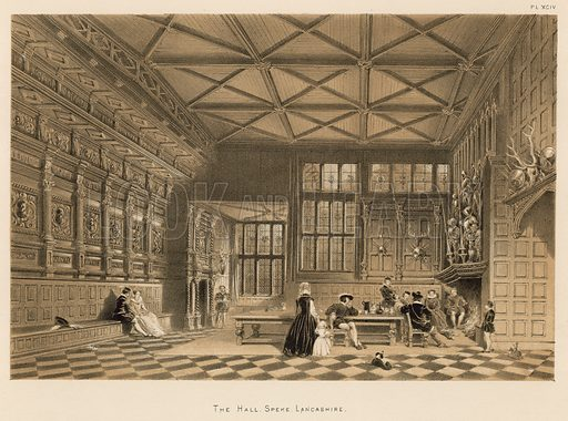 """The Hall, Speke, Lancashire. Illustration for The Mansions of England in the Olden Time by Joseph Nash, """"carefully reduced and executed in lithography"""" by Samuel Stanesby (Henry Sotheran, 1869–72)."""