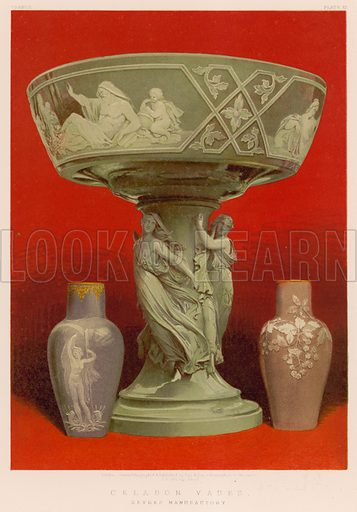 Celadon Vases, Sevres Manufactory. Illustration for Masterpieces of Industrial Art & Sculpture at the International Exhibition 1862 (Day & Son, 1863). Large chromolithograph of highest quality.