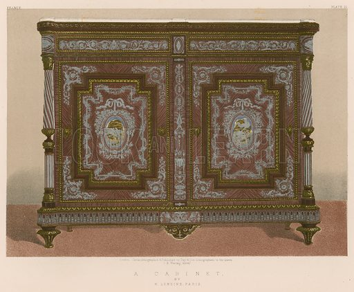 A Cabinet by H Lemoine, Paris. Illustration for Masterpieces of Industrial Art & Sculpture at the International Exhibition 1862 (Day & Son, 1863). Large chromolithograph of highest quality.