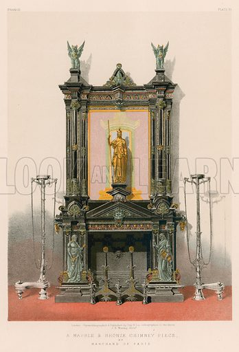 A Marble and Bronze Chimney Piece by Marchand of Paris. Illustration for Masterpieces of Industrial Art & Sculpture at the International Exhibition 1862 (Day & Son, 1863). Large chromolithograph of highest quality.