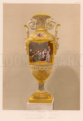 Porcelain Vase from The Imperial Manufactory, St Petersburg. Illustration for Masterpieces of Industrial Art & Sculpture at the International Exhibition 1862 (Day & Son, 1863). Large chromolithograph of highest quality.