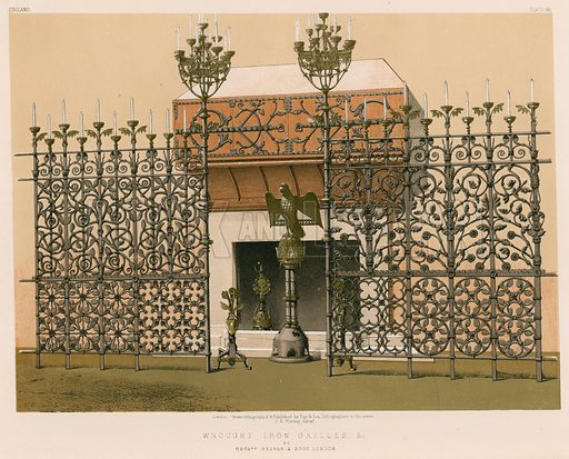 Wrought Iron Grilles and c by Messrs Benham and Sons, London. Illustration for Masterpieces of Industrial Art & Sculpture at the International Exhibition 1862 (Day & Son, 1863). Large chromolithograph of highest quality.