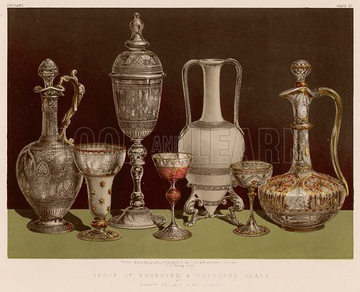 Group of Engraved and Coloured Glass by Messrs Pellatt and Co, London. Illustration for Masterpieces of Industrial Art & Sculpture at the International Exhibition 1862 (Day & Son, 1863). Large chromolithograph of highest quality.
