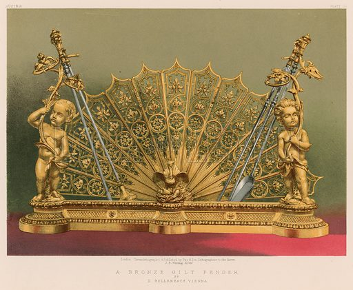 A Bronze Gilt Fender by D Hollenbach Vienna. Illustration for Masterpieces of Industrial Art & Sculpture at the International Exhibition 1862 (Day & Son, 1863). Large chromolithograph of highest quality.
