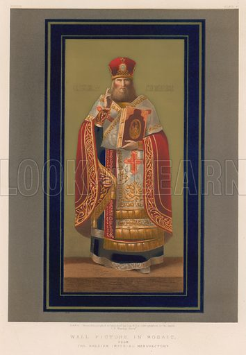 Wall Picture in Mosaic from The Russian Imperial Manufactory. Illustration for Masterpieces of Industrial Art & Sculpture at the International Exhibition 1862 (Day & Son, 1863). Large chromolithograph of highest quality.