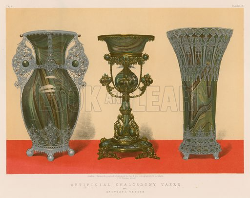 Artificial Chalcedony Vases by Salviati, Venice. Illustration for Masterpieces of Industrial Art & Sculpture at the International Exhibition 1862 (Day & Son, 1863). Large chromolithograph of highest quality.