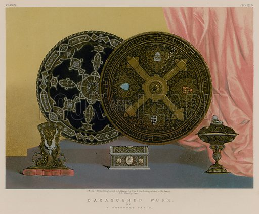 Damascened Work by H Dueresne, Paris. Illustration for Masterpieces of Industrial Art & Sculpture at the International Exhibition 1862 (Day & Son, 1863). Large chromolithograph of highest quality.
