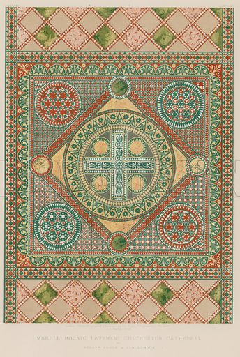 Marble Mosaic Pavement, Chichester Cathedral by Messrs Poole and Son, London. Illustration for Masterpieces of Industrial Art & Sculpture at the International Exhibition 1862 (Day & Son, 1863). Large chromolithograph of highest quality.