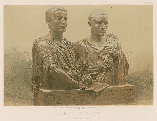 Tomb of the Gracchi by CABE Guillaume. Illustration for Masterpieces of Industrial Art & Sculpture at the International Exhibition 1862 (Day & Son, 1863). Large chromolithograph of highest quality.