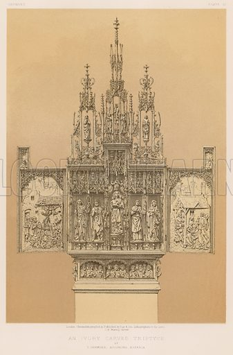 An Ivory Carved Triptych by T Gremser, Augsburg, Bavaria. Illustration for Masterpieces of Industrial Art & Sculpture at the International Exhibition 1862 (Day & Son, 1863). Large chromolithograph of highest quality.