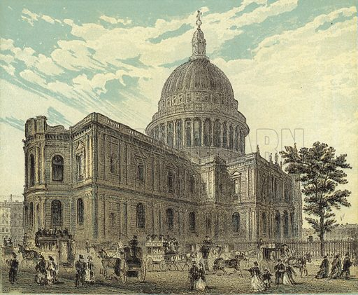 St Paul's Cathedral, North Eastern View. Illustration for Our National Cathedral (Ward Lock, c 1880). Note. Colours not in perfect register; image may not be suitable for enlargement.