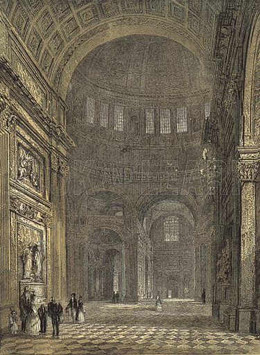 St Paul's Cathedral, Interior of the Dome, looking towards the Northern Transept. Illustration for Our National Cathedral (Ward Lock, c 1880). Note. Colours not in perfect register; image may not be suitable for enlargement.