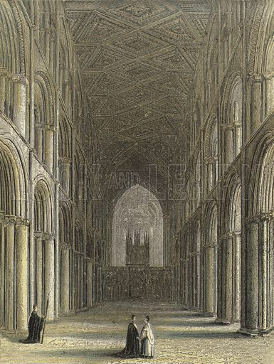 Peterborough Cathedral, The Nave. Illustration for Our National Cathedral (Ward Lock, c 1880). Note. Colours not in perfect register; image may not be suitable for enlargement.