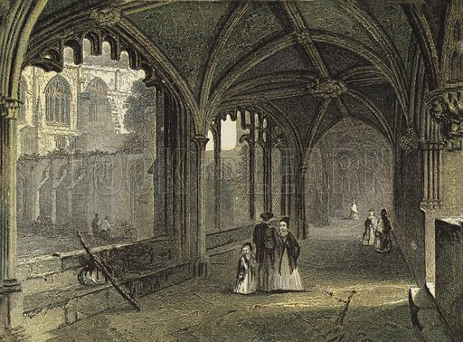 Chester Cathedral, The Cloisters. Illustration for Our National Cathedral (Ward Lock, c 1880). Note. Colours not in perfect register; image may not be suitable for enlargement.