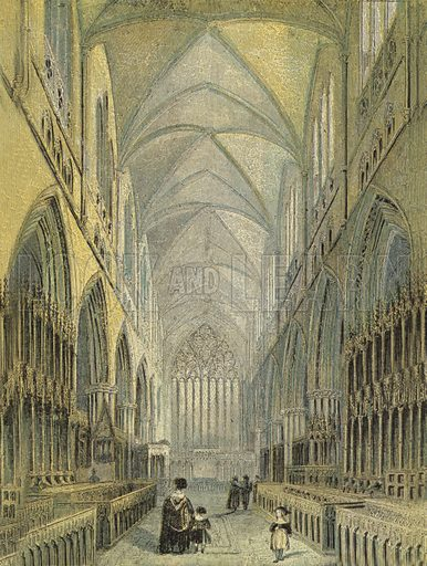 Carlisle Cathedral, View of the Choir. Illustration for Our National Cathedral (Ward Lock, c 1880). Note. Colours not in perfect register; image may not be suitable for enlargement.