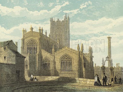 Manchester Cathedral, North East View. Illustration for Our National Cathedral (Ward Lock, c 1880). Note. Colours not in perfect register; image may not be suitable for enlargement.