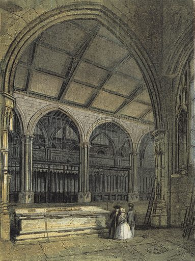 Manchester Cathedral, View across the Choir and Baptistry, from Ely Chapel. Illustration for Our National Cathedral (Ward Lock, c 1880). Note. Colours not in perfect register; image may not be suitable for enlargement.