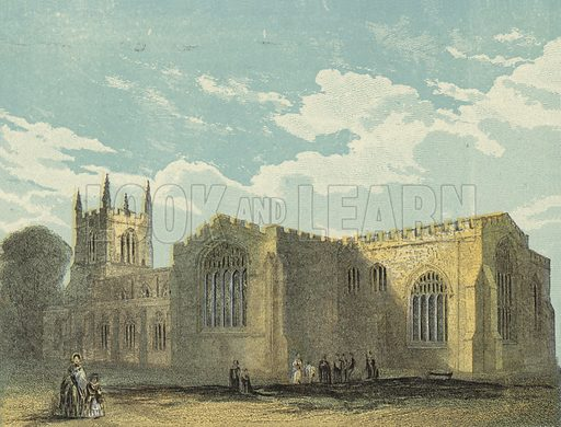 Bangor Cathedral, South East View. Illustration for Our National Cathedral (Ward Lock, c 1880). Note. Colours not in perfect register; image may not be suitable for enlargement.