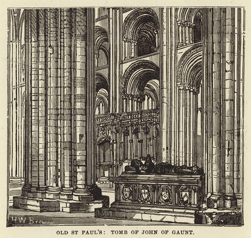 Old St Paul's, Tomb of John of Gaunt. Illustration for Our National Cathedral (Ward Lock, c 1880).